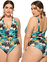 cheap -Women's One Piece Swimsuit Padded Swimwear Bodysuit Swimwear Green Breathable Quick Dry Comfortable Sleeveless - Swimming Surfing Water Sports Summer Plus Size / Elastane