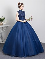 cheap -Ball Gown Cut Out Floral Quinceanera Prom Dress High Neck Sleeveless Floor Length Tulle with Beading Appliques 2021