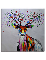 cheap -Hand Painted Canvas Oil Paintings Modern Art Abstract Deer Stretched Squre Abstract Artwork Ready to Hang