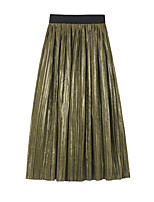 cheap -Women's Vacation Going out Elegant Streetwear Skirts Solid Colored Pleated Army Green Brown Beige