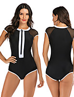 cheap -Women's One Piece Swimsuit Swimwear Breathable Quick Dry Sleeveless Front Zip - Swimming Surfing Water Sports Patchwork Autumn / Fall Spring Summer