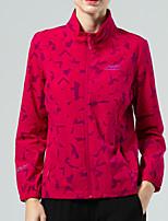 cheap -Women's Hiking Jacket Hiking Windbreaker Outdoor Camo Waterproof Lightweight Windproof Breathable Jacket Top Elastane Full Length Visible Zipper Fishing Climbing Running Purple Red Pink / Quick Dry