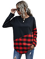 cheap -Women's Sweatshirt Sweater Pullover Patchwork Crew Neck Sport Athleisure Sweatshirt Top Long Sleeve Breathable Soft Comfortable Everyday Use Casual Daily Outdoor