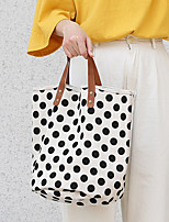 cheap -Women's Bags Canvas Top Handle Bag Shopper Bag Polka Dot Daily Going out 2021 Canvas Bag Handbags Black Blue