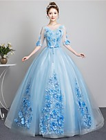 cheap -Ball Gown Beautiful Back Floral Quinceanera Formal Evening Dress Illusion Neck Half Sleeve Floor Length Tulle with Bow(s) Appliques 2021