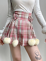 cheap -Women's Going out Casual / Daily Active Streetwear Skirts Plaid Pleated Bow Blushing Pink