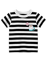 cheap -Boys' Short Sleeve T-Shirts Cartoon Black And White Stripes Tees Round Neck Kids Tops for 3-7 Years