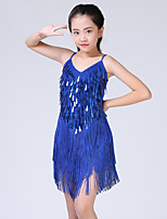 cheap -Latin Dance Dress Tassel Tiered Paillette Girls' Training Performance Long Sleeve Polyester