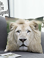 cheap -1 Pc Cushion Cover with or without Pillow Insert Double Side Print White Lion 38x38cm / 45x45cm Polyester