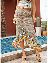 cheap -Women's Vacation Beach Elegant Sophisticated Skirts Graphic Split Ruched Print Beige