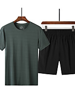 cheap -Men's T shirt Hiking Tee shirt with Shorts Short Sleeve Pants / Trousers Bottoms Clothing Suit Outdoor Quick Dry Lightweight Breathable Sweat wicking Spring Summer ArmyGreen Denim Blue Black Hunting