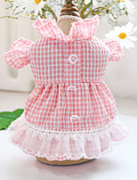cheap -Dog Cat Dress Plaid Lace Elegant Adorable Cute Dailywear Casual / Daily Dog Clothes Puppy Clothes Dog Outfits Breathable Pink Costume for Girl and Boy Dog Polyester XS S M L XL