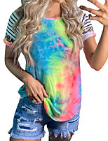 cheap -Women's Tee / T-shirt Tie Dye Crew Neck Stripes Color Block Sport Athleisure T Shirt Top Short Sleeves Breathable Soft Comfortable Everyday Use Casual Daily Outdoor