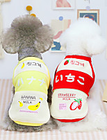 cheap -Dog Cat Shirt / T-Shirt Vest Strawberry Fruit Basic Adorable Cute Dailywear Casual / Daily Dog Clothes Puppy Clothes Dog Outfits Breathable Yellow Red Pink Costume for Girl and Boy Dog Cotton S M L