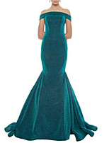 cheap -Mermaid / Trumpet Glittering Sexy Engagement Formal Evening Dress Off Shoulder Sleeveless Sweep / Brush Train Sequined with Sequin 2021