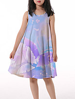 cheap -Kids Little Girls' Dress Butterfly Graphic Animal Ruched Print Light Blue Knee-length Sleeveless 3D Print Cute Dresses Loose 4-13 Years