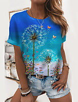 cheap -Women's T shirt Graphic Dandelion Print Round Neck Tops Basic Basic Top Blue