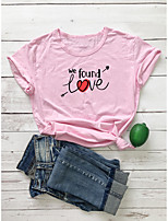 cheap -Women's T shirt Text Letter Print Round Neck Tops 100% Cotton Basic Basic Top White Purple Red