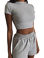 cheap -Women's Sweatsuit 2 Piece Set Pure Color Crop Top Turtleneck Sport Athleisure Clothing Suit Short Sleeves Breathable Soft Comfortable Everyday Use Casual Daily Outdoor