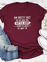 cheap -Women's T shirt Text Letter Print Round Neck Tops 100% Cotton Basic Basic Top White Black Purple