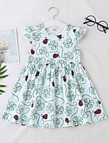 cheap -Kids Toddler Little Girls' Dress Plants Print White Knee-length Short Sleeve Regular Sweet Dresses Spring & Summer Regular Fit 2-6 Years