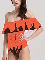 cheap -Women's New Vacation Fashion Monokini Swimsuit Color Block Abstract Tummy Control Ruffle Print Bodysuit Normal Off Shoulder Swimwear Bathing Suits White Yellow Orange / One Piece / Party