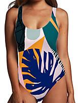 cheap -Women's One Piece Monokini Swimsuit Tummy Control Print Tropical Leaf Blue Swimwear Bodysuit Strap Bathing Suits New Fashion Sexy