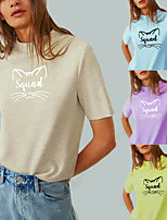 cheap -Women's Tee / T-shirt Pure Color Crew Neck Cat Letter Printed Sport Athleisure T Shirt Top Short Sleeves Breathable Soft Comfortable Everyday Use Street Casual Daily Outdoor