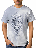 cheap -Men's T shirt 3D Print Graphic Animal 3D Print Short Sleeve Daily Tops Basic Casual White