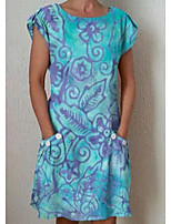 cheap -Women's A Line Dress Short Mini Dress White Blue Short Sleeve Floral Solid Color Print Summer Round Neck Casual 2021 S M L XL XXL 3XL