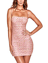 cheap -yingzhen women strappy off shoulder bodycon dress, thin spaghetti straps floral printed ruched mini dress (pink, s)
