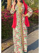 cheap -Women's Kaftan Dress Maxi long Dress Red Long Sleeve Solid Color Patchwork Summer V Neck Casual 2021 S M L XL XXL