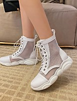 cheap -Women's Boots Platform Round Toe Booties Ankle Boots Mesh Microfiber Lace-up Solid Colored White Black / Mid-Calf Boots