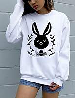cheap -Women's Sweatshirt Pullover Pure Color Crew Neck Rabbit / Bunny Sport Athleisure Sweatshirt Top Long Sleeve Breathable Soft Comfortable Everyday Use Street Casual Daily Outdoor
