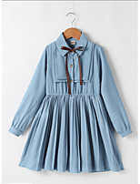 cheap -Kids Little Girls' Dress Solid Colored Pleated Blue Knee-length Dresses Spring & Summer Loose 3-8 Years