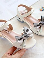 cheap -Girls' Sandals Flower Girl Shoes Princess Shoes School Shoes Rubber PU Little Kids(4-7ys) Big Kids(7years +) Daily Party & Evening Walking Shoes Rhinestone Bowknot Sparkling Glitter Pink Beige Spring