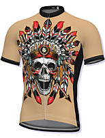 cheap -21Grams Men's Short Sleeve Cycling Jersey Spandex Khaki Skull Bike Top Mountain Bike MTB Road Bike Cycling Breathable Quick Dry Sports Clothing Apparel / Athleisure