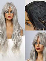 cheap -Long Grey Ombre Wavy Wigs for Women Bangs Synthetic Wigs for Black Women Afro Heat Resistant Natural Hair Wig