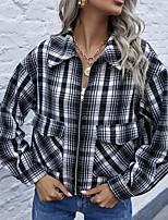 cheap -Women's Print Sporty Fall & Winter Jacket Regular Daily Long Sleeve Cotton Blend Coat Tops Black