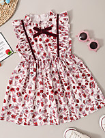 cheap -Kids Toddler Little Girls' Dress Graphic Print Red Knee-length Sleeveless Active Dresses Summer Regular Fit 2-8 Years