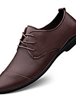 cheap -Men's Oxfords British Daily Walking Shoes Leather Breathable Non-slipping Wear Proof Black Brown Fall Spring