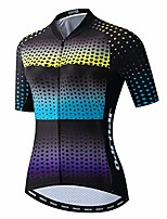cheap -women's cycling jersey short sleeve bike biking shirts full zipper bicycle tops cycling clothes pockets reflective blue yellow size l