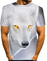 cheap -Men's Tees T shirt 3D Print Graphic Prints Fox Animal Print Short Sleeve Daily Tops Basic Casual White