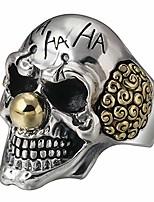 cheap -gothic 925 sterling silver clown joker skull ring for men women adjustable size 8-10.5