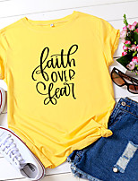 cheap -Women's T shirt Graphic Letter Print Round Neck Tops 100% Cotton Basic Basic Top White Yellow Blushing Pink