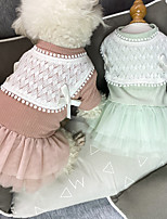 cheap -Dog Cat Dress Bowknot Lace Elegant Adorable Sweet Dailywear Casual / Daily Dog Clothes Puppy Clothes Dog Outfits Breathable Red Green Gray Costume for Girl and Boy Dog Cotton XS S M L XL XXL