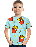 cheap -Kids Boys' Tee Short Sleeve Graphic Children Tops Active Light Blue 3-12 Years