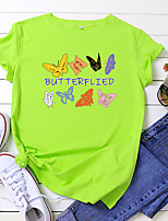 cheap -Women's T shirt Butterfly Letter Print Round Neck Tops 100% Cotton Basic Basic Top White Black Blue