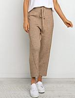 cheap -Women's Stylish Streetwear Comfort Casual Daily Chinos Pants Plain Ankle-Length Elastic Waist Khaki