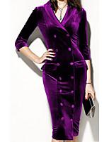 cheap -Women's Shirt Dress Midi Dress Purple Green 3/4 Length Sleeve Solid Color Patchwork Spring Summer Shirt Collar Casual Cotton 2021 S M L XL XXL 3XL 4XL 5XL